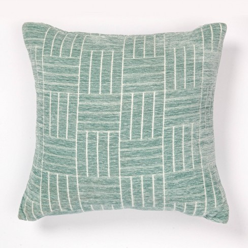 Staggered Striped Chenille Woven Jacquard Throw Pillow - freshmint - image 1 of 4