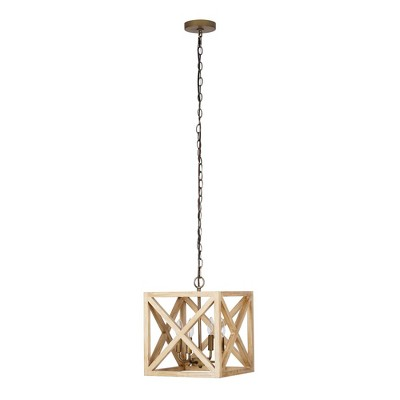 "13"" 4-Light Wood Square Cage Ceiling Light Brown - Cresswell Lighting"