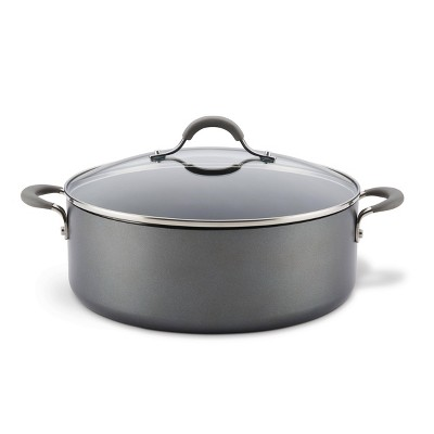 Circulon Elementum 7.5qt Hard Anodized Aluminum Stock Pot with Lid Gray