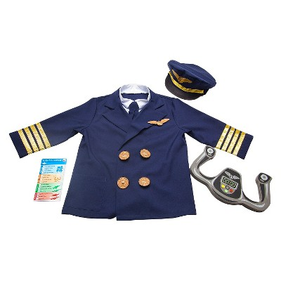 Melissa & Doug Pilot Role Play Costume Set (6pc) - Jacket, Tie, Hat, Wings, Steering Yoke, Checklist