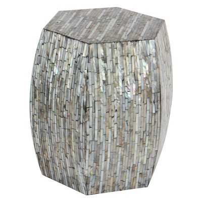 Wood and Shell Hexagon Accent Table - Olivia & May