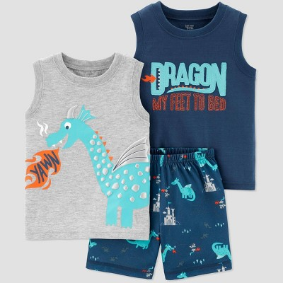 Baby Boys' 3pc Dragon Poly Pajama Set - Just One You® made by carter's Gray/Green 18M