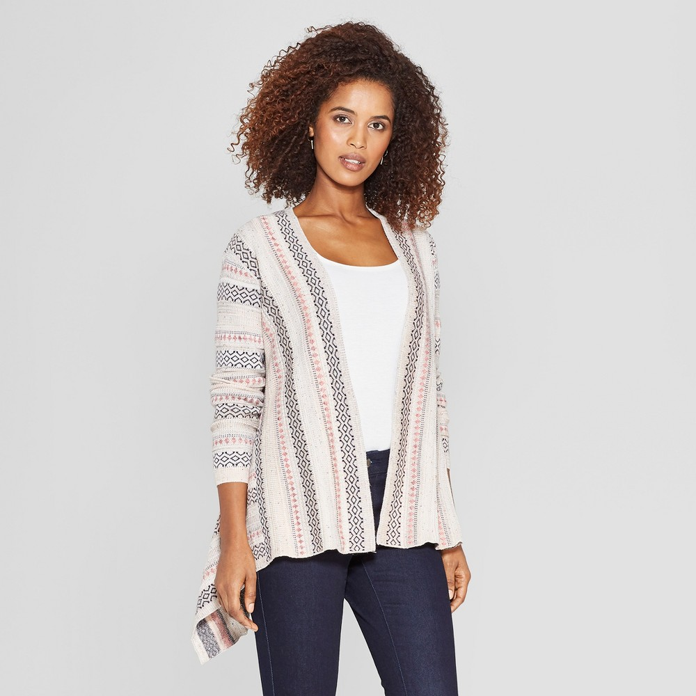 Women's Long Sleeve Jacquard Open Cardigan - Knox Rose Pink M, Multicolored