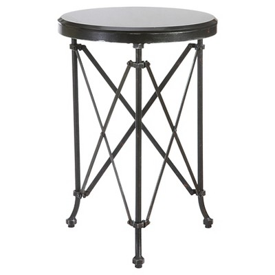 Round Metal Table with Marble Top - Black (20 )