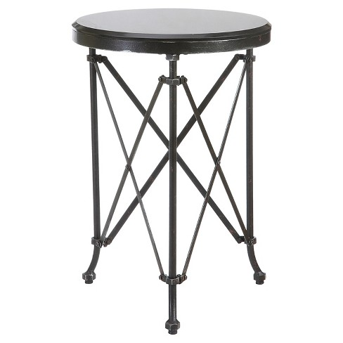 "Round Metal Table with Marble Top - Black (20"") - image 1 of 1"
