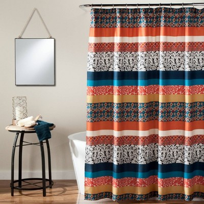 Boho Stripe Shower Curtain Turquoise- Lush Décor