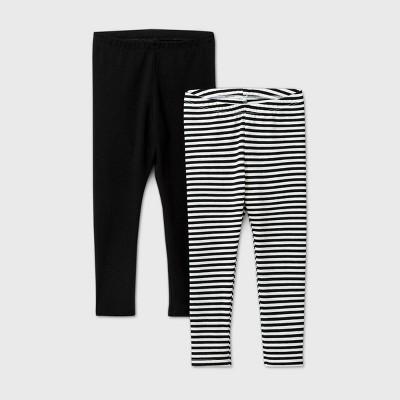 Toddler Girls' 2pk Striped Solid Leggings - Cat & Jack™ Black