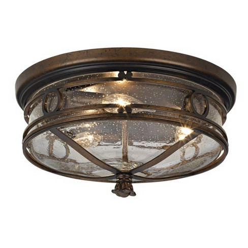 John Timberland Rustic Outdoor Ceiling Light Fixture Bronze 14 Flush Mount Clear Seedy Glass For Exterior Porch Entryway Patio Deck Lighting Target