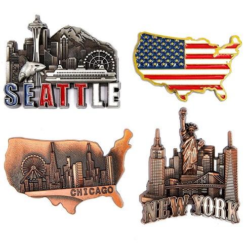 4 Pack New York Chicago Seattle Us Flag Decorative Magnets For Fridge Refrigerator Locker Target