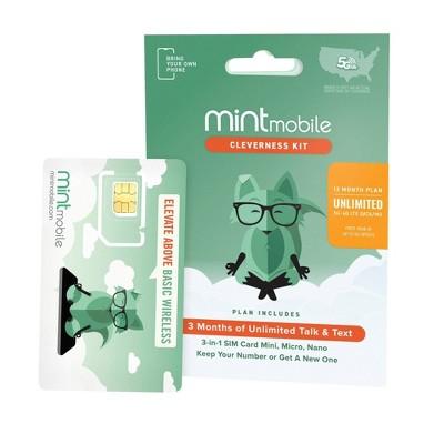Mint Mobile 12 Month Unlimited Plan SIM Kit