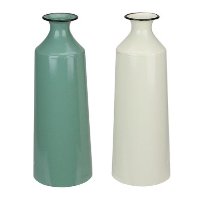 Melrose Set of 2 Green and Cream Farmhouse Metal Vases 12""