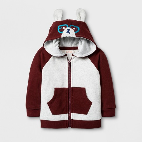 Baby Boys' French Terry Hooded Sweatshirt - Cat & Jack™ Red - image 1 of 1