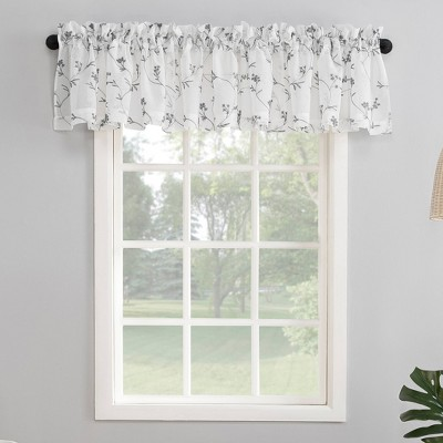 "17""x50"" Delia Embroidered Floral Sheer Rod Pocket Curtain Valance - No. 918"