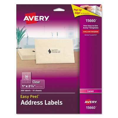 Avery Clear Easy Peel Mailing Labels Laser 1 x 2 5/8 300/Pack 15660