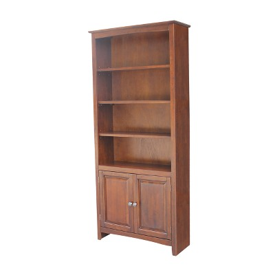 """72"""" Shaker Bookcase with Two Lower Doors - International Concepts"""