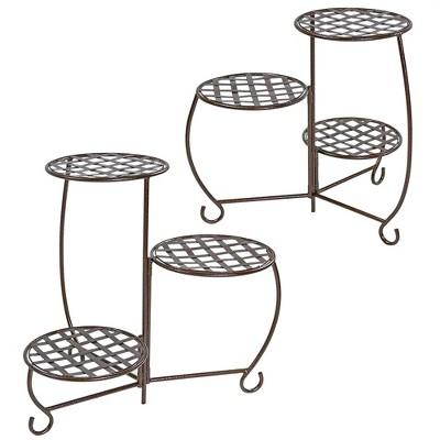 Sunnydaze Indoor/Outdoor Steel Decorative Checker Top 3-Tiered Flower Plant Stand Display - Bronze - 2pk