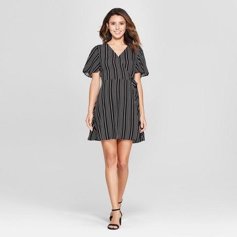 a5aef69c07d2 Women s Striped Short Sleeve Wrap Dress - Xhilaration™ Black White S ...