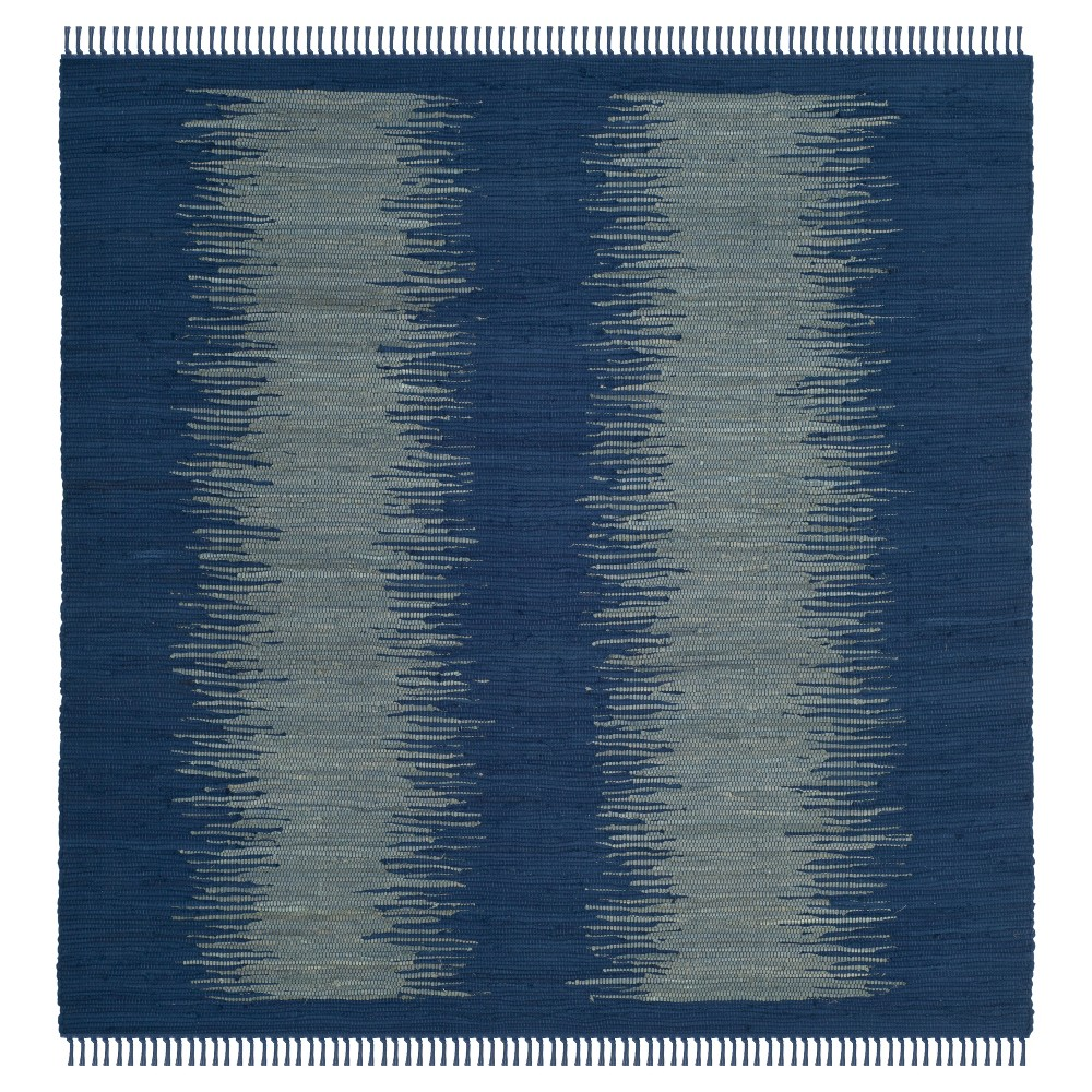 Navy (Blue) Geometric Flatweave Woven Square Area Rug 6'X6' - Safavieh