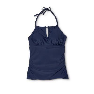 Women's Post-Mastectomy High Neck Tankini Top - Kona Sol™ Oxford Blue