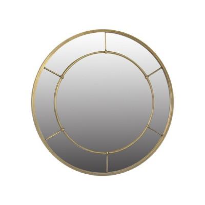 28  Round Metal Industrial (Powder Coat)Decorative Wall Mirror Brass - Threshold™