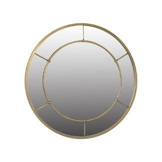 """28"""" Round Metal Industrial (Powder Coat) Decorative Wall Mirror Brass - Threshold™"""