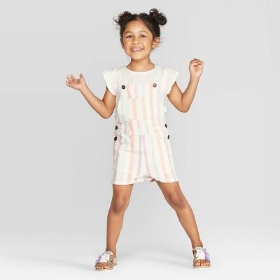Toddler Girls' Flutter Top and Striped Shortall Set - art class™ Off-White 12M