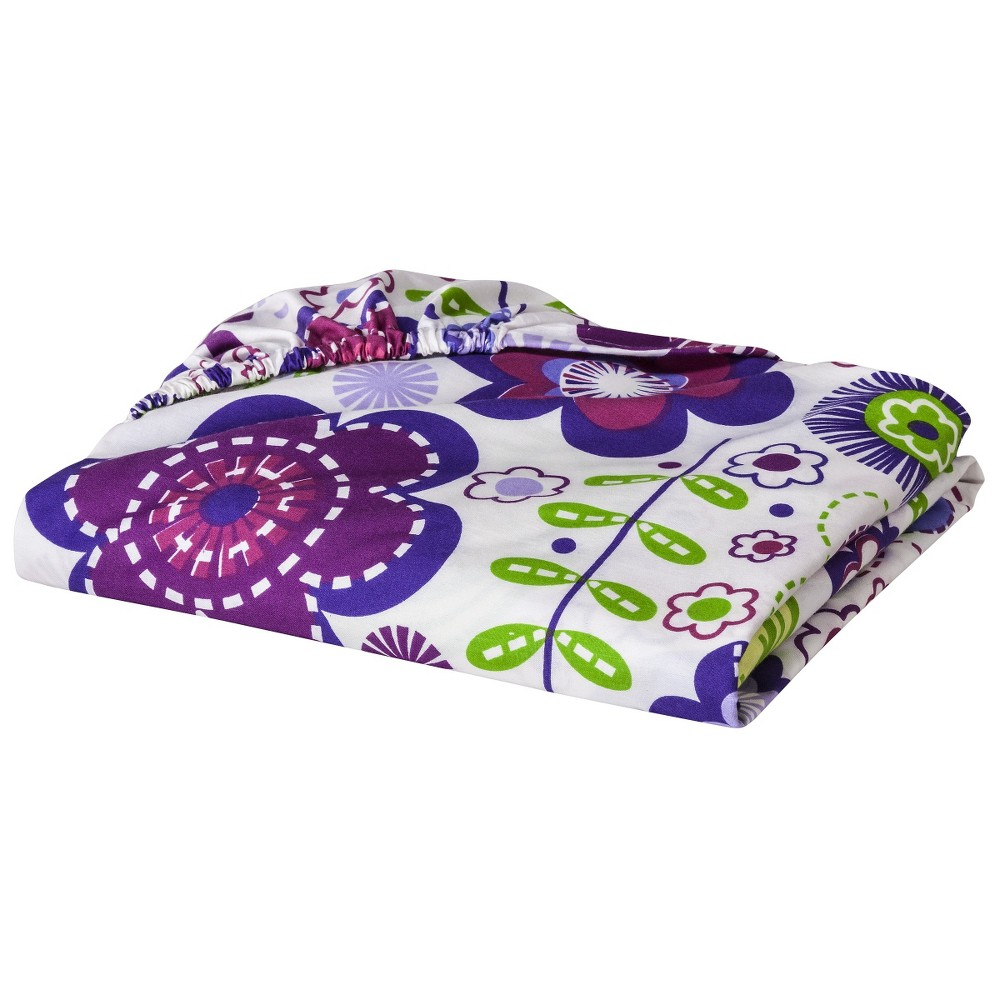 Image of Bacati Fitted Crib Sheet - Botanical Purple