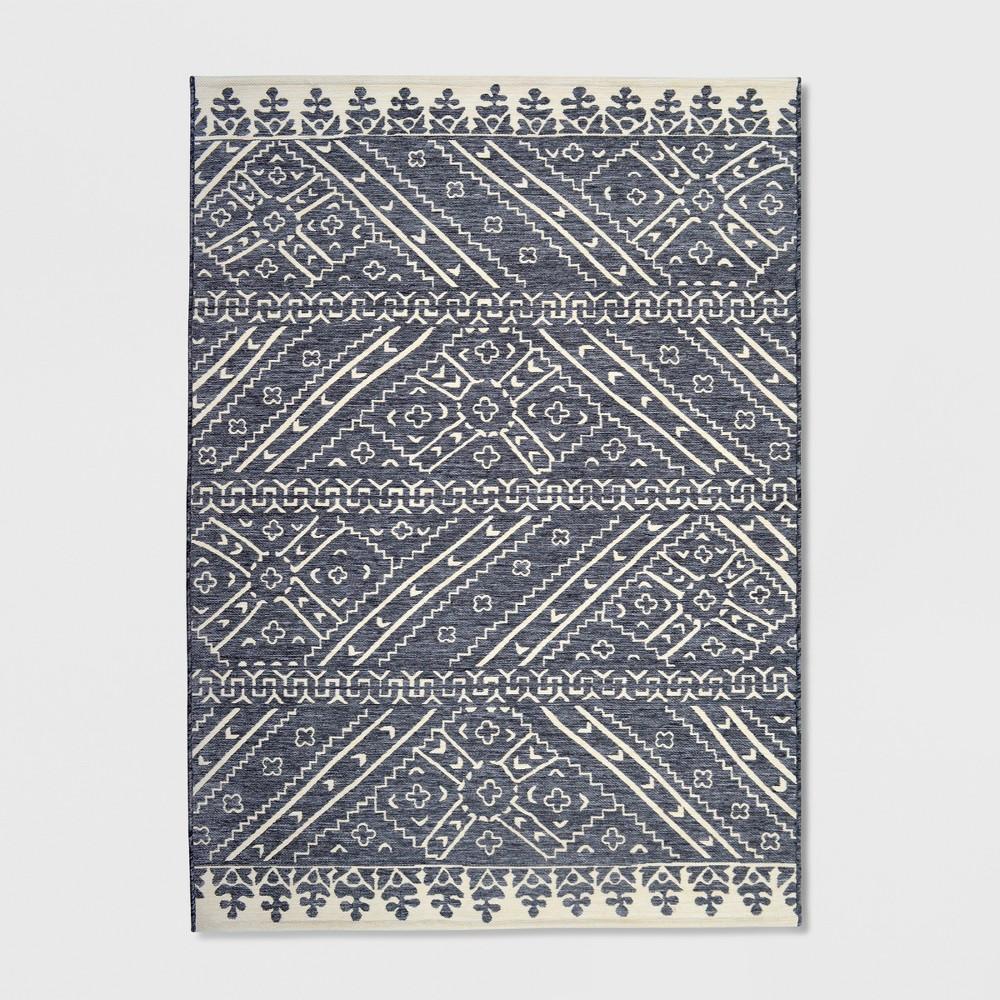 9' x 12' Royal Stripe Outdoor Rug Charcoal (Grey) - Opalhouse