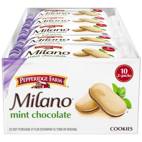 Pepperidge Farm® Milano® Mint Chocolate Cookies, 9.5oz Multipack Tray, 10ct 0.95oz 2pks - image 1 of 1