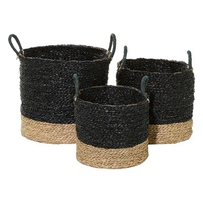 "Olivia & May 14""x16""x18"" Set of 3 Natural Woven Round Seagrass Baskets with Handles Black"