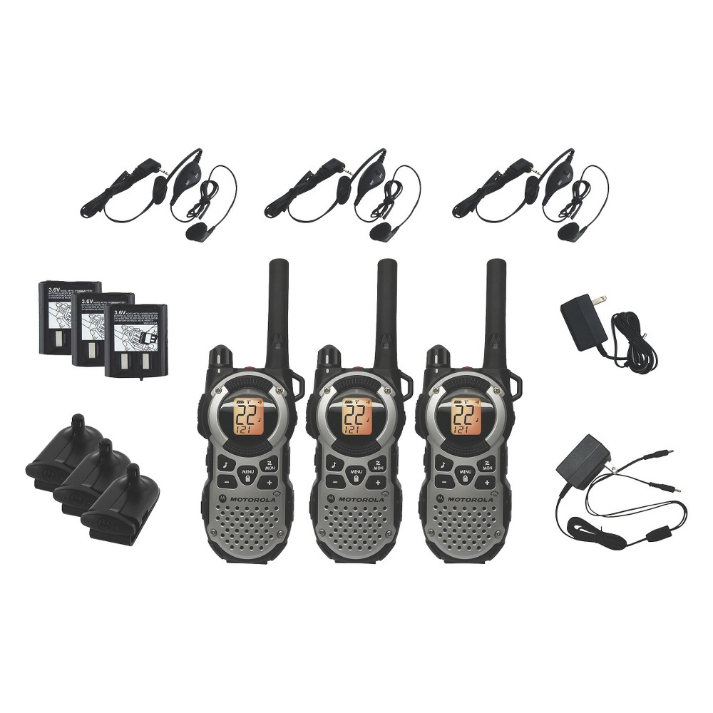Motorola Talkabout Frs/Gmrs 2 Way Radio 35 Mile Range - Silver (MT352TPR) Be sure you can communicate during outdoor activities with Motorola 2-way radios. 3-piece set of durable, water-resistant radios have rechargeable batteries for long-lasting use. 35-mile range gives you communication over extended distances. Access to 11 different weather radio channels. Numerous convenience-oriented features, like voice control and integrated Lcd displays, make using the radios easy.