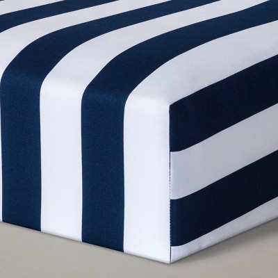 Fitted Crib Sheet Rugby Stripes - Cloud Island™ - Navy