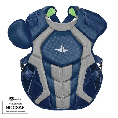 All-Star Sports S7 SEI Certified 16.5 Inch Axis Adult Baseball Softball Catcher Chest Protector with Shoulder and Throat Molded PE Plates, Navy