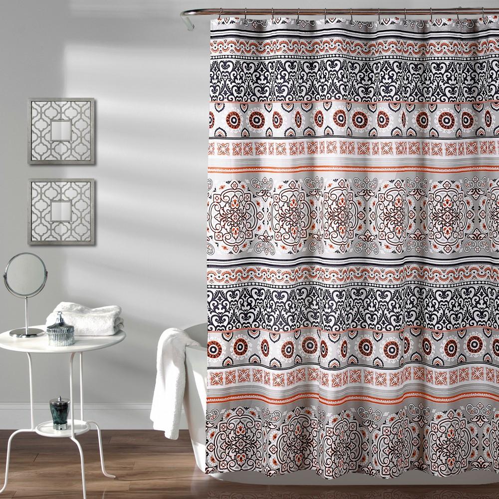 Nesco Stripe Shower Curtain Navy (Blue) - Lush Decor