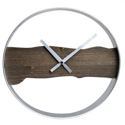 15  Raw Edged Wood and Metal Wall Clock Silver - Patton Wall Decor