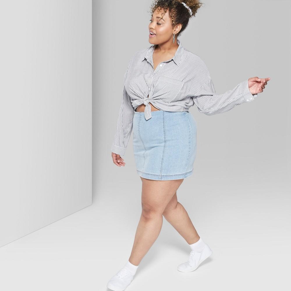Women's Plus Size Paneled Denim Mini Skirt - Wild Fable Blue 14W