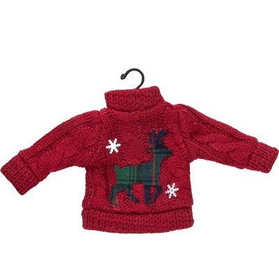"Northlight 4.5"" Red Sweater with Plaid Reindeer Christmas Ornament"
