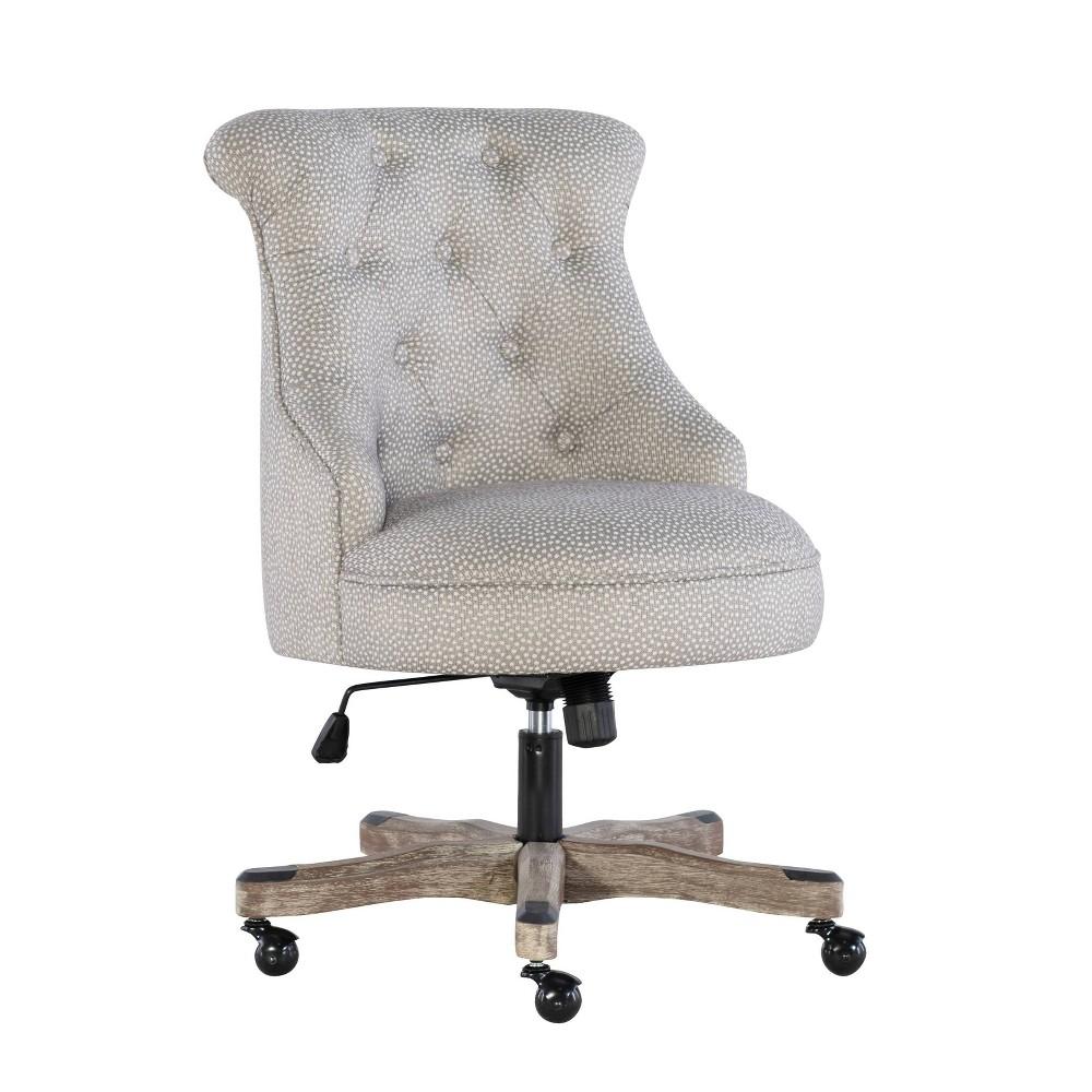 Sinclair Office Chair Gray Wash Wood Base Light Gray Linon