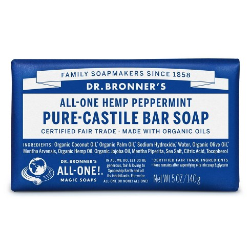 Dr. Bronner's All-One Hemp Peppermint Pure-Castile Bar Soap - 5oz - image 1 of 4