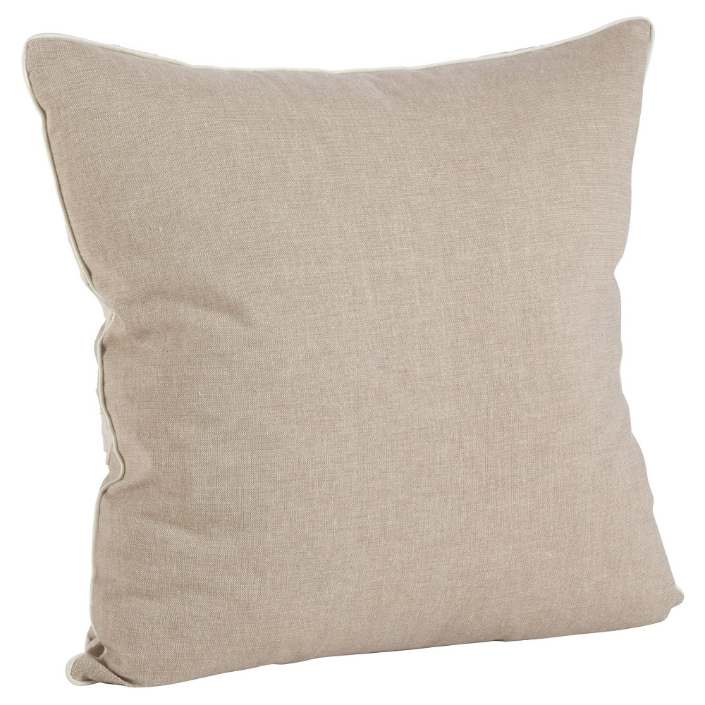 Light Brown Embroidered Flower Throw Pillow (18) - Saro Lifestyle
