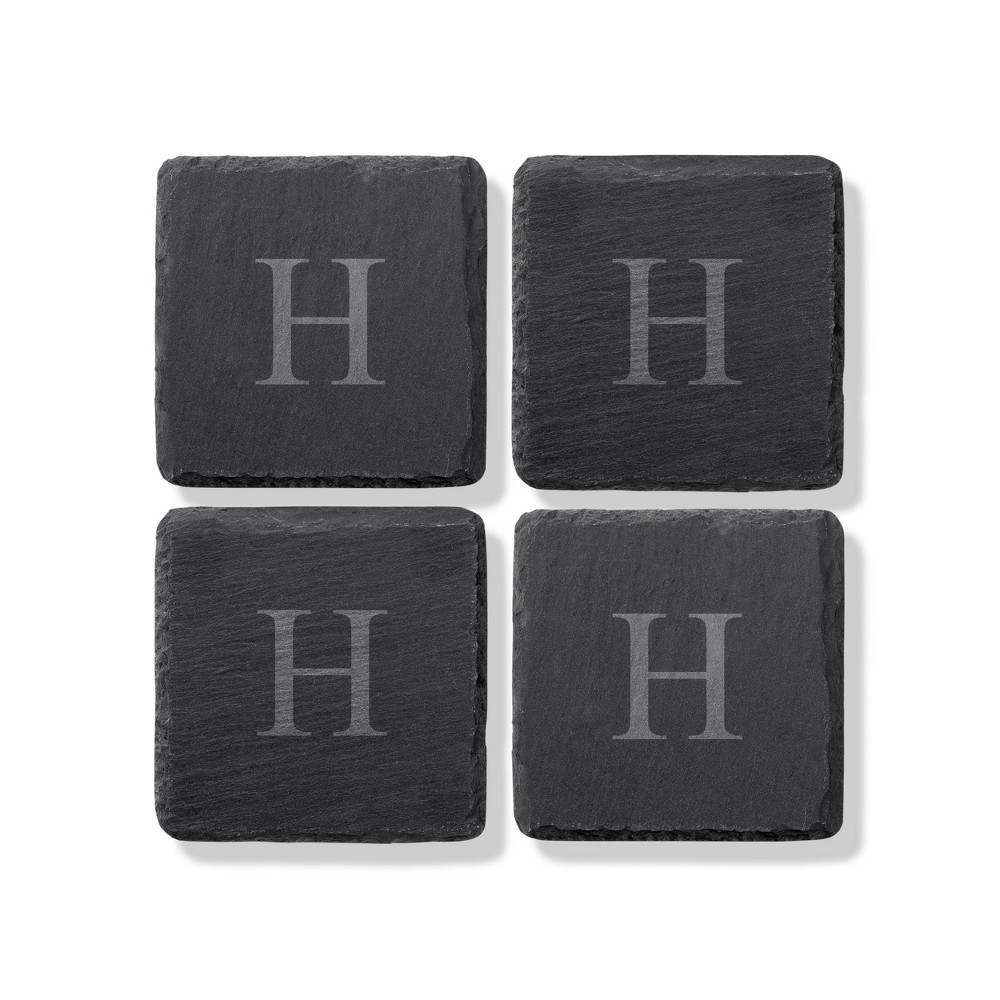 4pk Slate Monogrammed Coasters H Cathy 39 S Concepts
