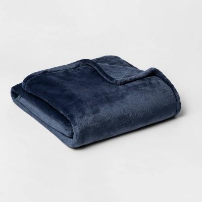 Twin/Twin XL Microplush Bed Blanket Metallic Blue - Threshold™