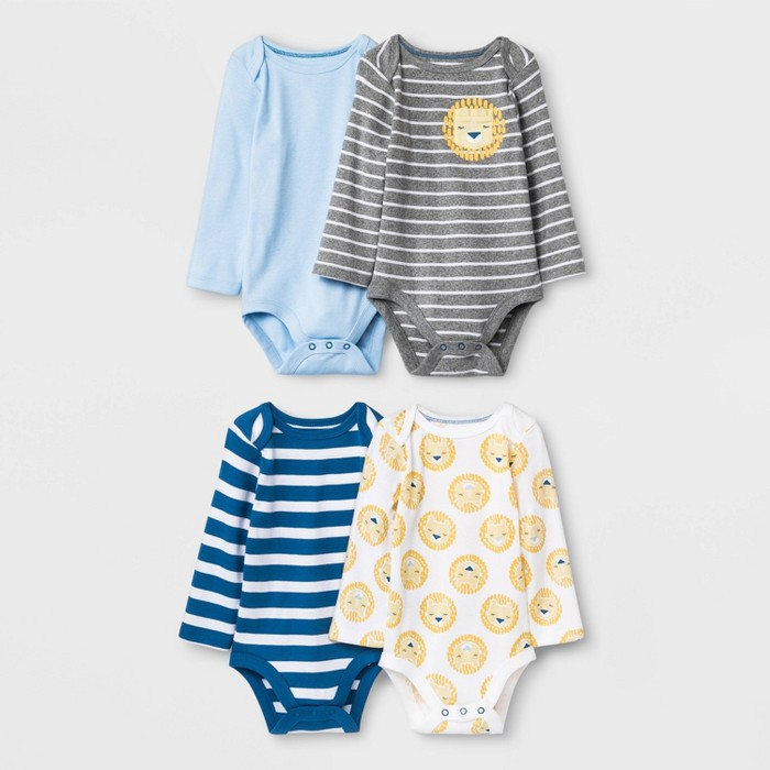 Baby Boys' 4pk King of the Crib Long Sleeve Bodysuits - Cloud Island™ - image 1 of 1