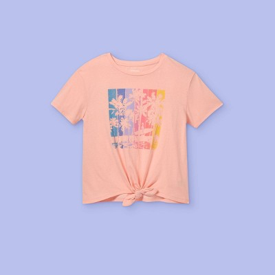 Girls' Palm Trees Tie-Front Short Sleeve Graphic T-Shirt - More Than Magic™ Light Pink
