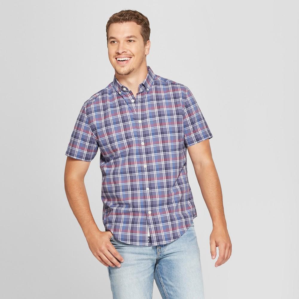 Men's Plaid Standard Fit Short Sleeve Poplin Button-Down Shirt - Goodfellow & Co Blue Dusk 2XL