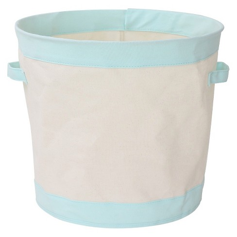 Round Collapsible Canvas Toy Storage Bin Aqua - Pillowfort™ - image 1 of 1
