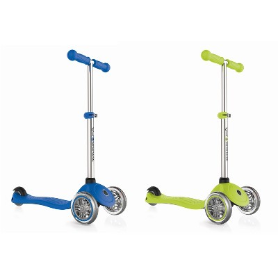 Globber Primo 3-Wheel Kids Kick Scooter with Adjustable Height and Comfortable Grips for Boys and Girls, Navy Blue and Green (2 Pack
