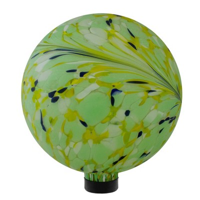 "Northlight 10"" Yellow, Green and Blue Hand Painted Swirled Outdoor Patio Garden Gazing Ball"