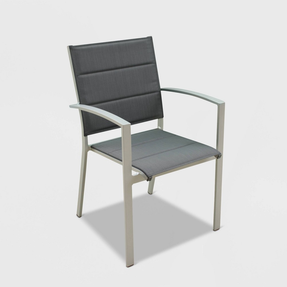 Image of 4pk Skyline Aluminum Outdoor Padded Dining Chair - Gray - Courtyard Casual
