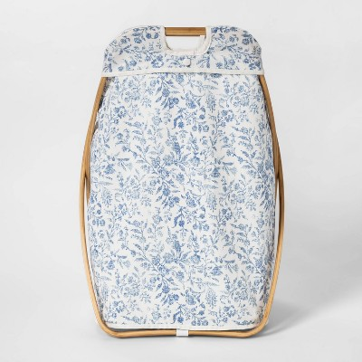 X-Framed Wood Hamper - Floral Blue - Threshold™